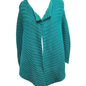 Ann Taylor Loft Chunky Open Cardigan Sweater Green